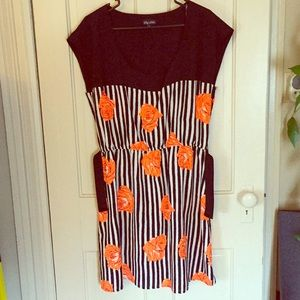 City Chic Striped & Floral Dress